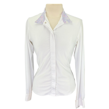 Ovation Show Shirt in White/Floral Collar