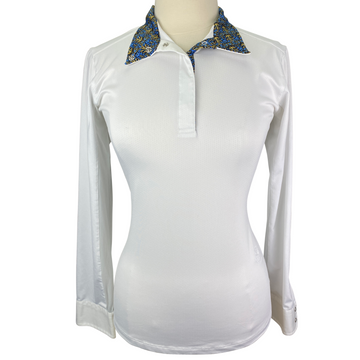 Essex Classics Talent Yarn Show Shirt in White/Floral Collar Design - Women's Large