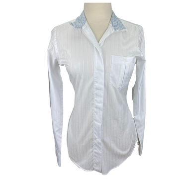 Front of Hadfield's Cynthia Munro Show Shirt in White/Stripe Pattern.