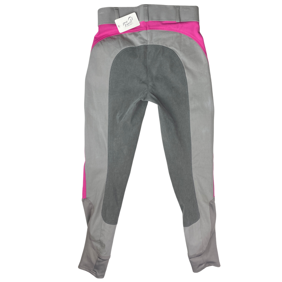 Back of Dover Saddlery Empire II Full Seat Breeches in Charcoal/Violet Rose Accents - Women's 26