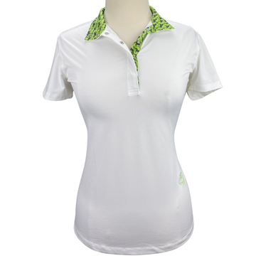 Essex Classics Talent Yarn Short Sleeve Show Shirt in White/Green Collar - Women's Large