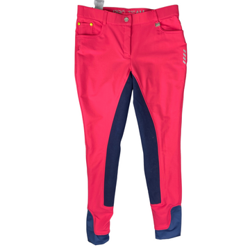 HKM Pro-Team Full Seat Breech in Hot Pink/Navy Accents - Women's 28