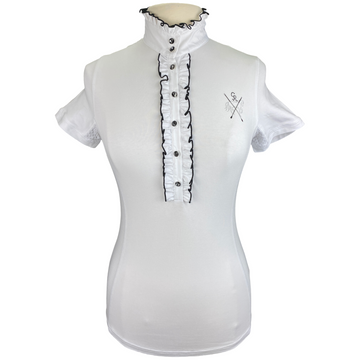 Goode Rider Couture Ruffle Show Shirt in White - Women's Small