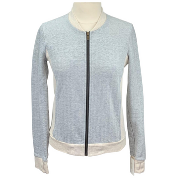 Two Bits Equestrian Herringbone Bomber in Grey/Cream - Women's XL