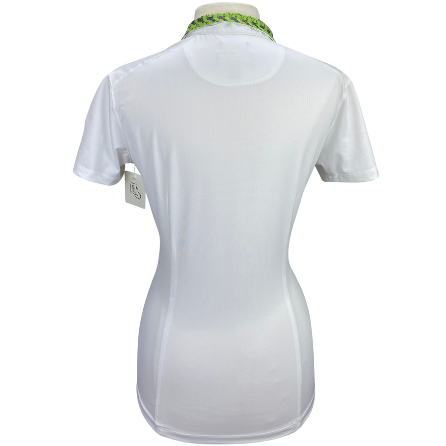 Back of Essex Classics Talent Yarn Short Sleeve Show Shirt in White/Green Collar - Women's Large