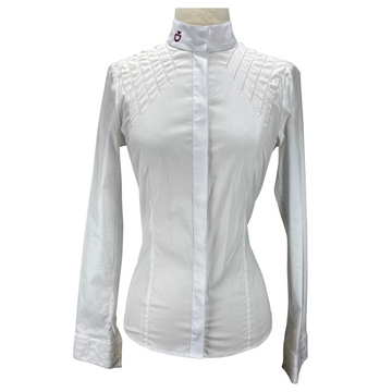 Front of Cavalleria Toscana Perforated Line Show Shirt in White