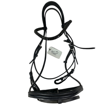 Nunn Finer Charlotte Dressage Bridle w/ Fancy Browband in Black - Full