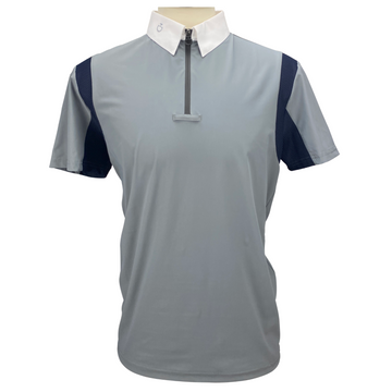 Front of Cavalleria Toscana Men's Jersey Competition Polo in Grey