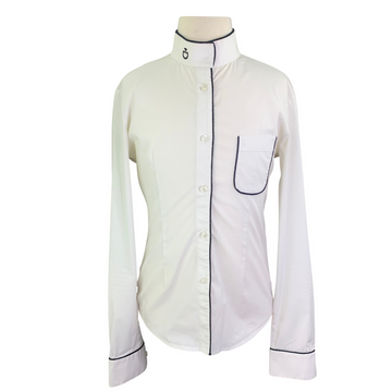 Cavalleria Toscana Competition Shirt in White/Black Piping