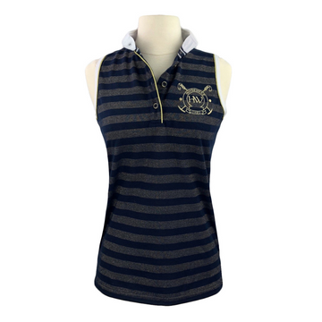Horseware Metallic Sleeveless Polo in Navy/Gold Stripe - Women's S