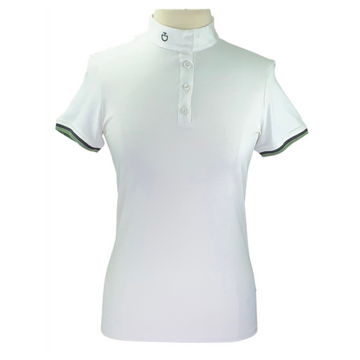 Cavalleria Toscana Three Stripe Competition Polo in White