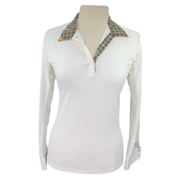 Essex Classics Show Shirt in White/Multi Collar