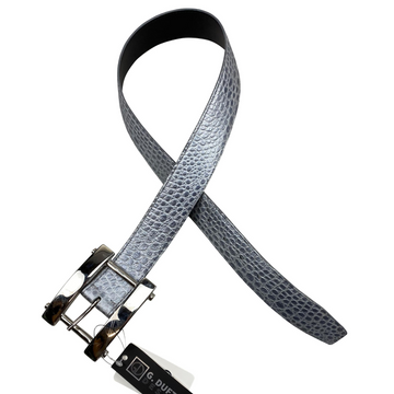 G. Duftler H Buckle Belt in Silver/Charcoal Croc