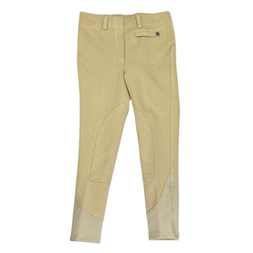 Front of Dublin Supa-Fit Pull On Knee Patch Breeches in Tan - Children's 6