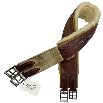 Edgewood Fancy Stitch Sheepskin Girth in Chestnut - 40