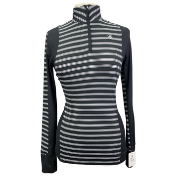 Ariat Tek Cold Series Long Sleeve Shirt in Black+White Stripes.