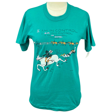 'I Am In Control' Vintage Tee in Green/Horses