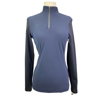 Cavalleria Toscana Long Sleeve Jersey Polo in Navy/Black - Women's Small
