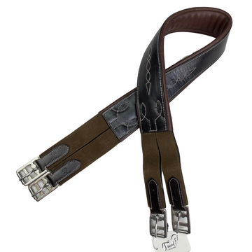 Bobby's English Tack Fancy Double End Elastic Girth in Espresso - 46