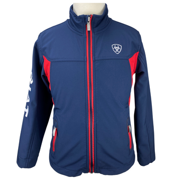 Front of Ariat Team Softshell Jacket in Navy/Red