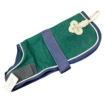 Dog Blanket in Green/Navy and White Piping
