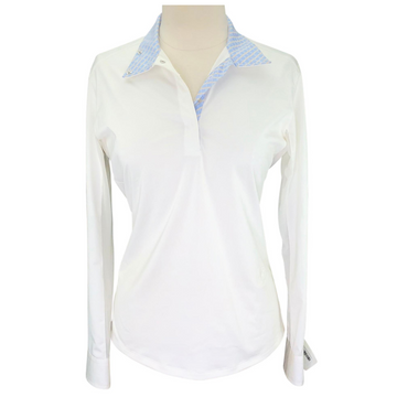 Essex Classics Coolmax Performance Collection Show Shirt in White/Blue Collar Design