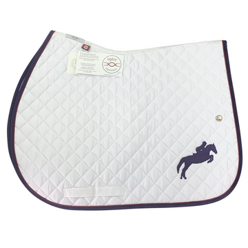 Horse d'oeuvres Ogilvy Equestrian Jump Profile Pad in White/Purple and Burgundy Piping