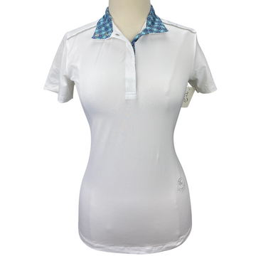 Essex Classics Talent Yarn Short Sleeve Show Shirt in White/Blue Floral Collar - Women's Large