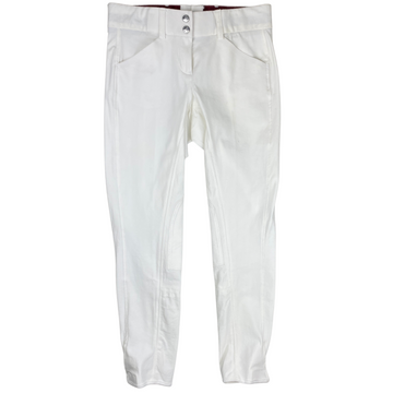 Grand Prix 'Vegas' Knee Patch Breeches in White - Women's 26R