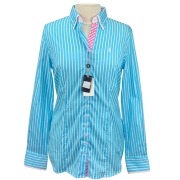 Fior Da Liso Andrea Shirt in Blue Curacao Stripe