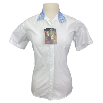 Devon-Aire Short Sleeve Show Shirt in White/Blue Multi Collar - Women's Small