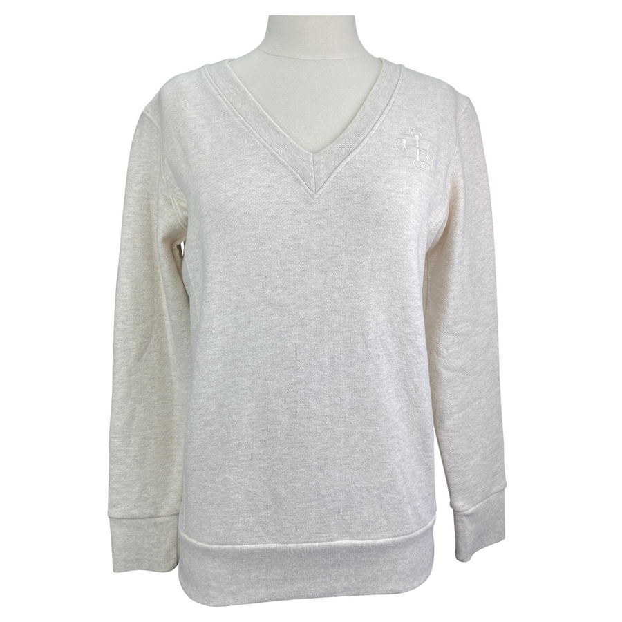 Two Bits Equestrian The Herringbone V Neck II in Oatmeal - Size 1 (Women's S/M)
