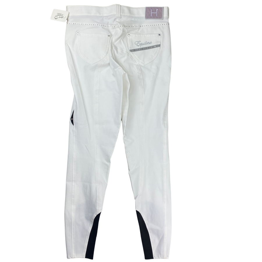 Back of Equiline Helen Breeches in White/Grey Trim