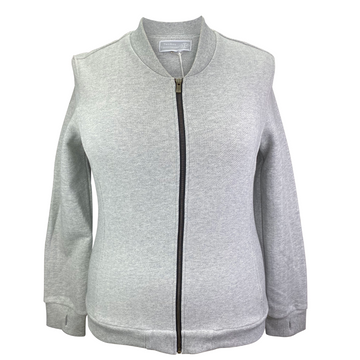 Two Bits Equestrian Herringbone Bomber in Grey - Size 4 (Women's XL)