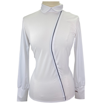MaKeBe 'Snake' Show Shirt in White/Blue Piping - Women's Large
