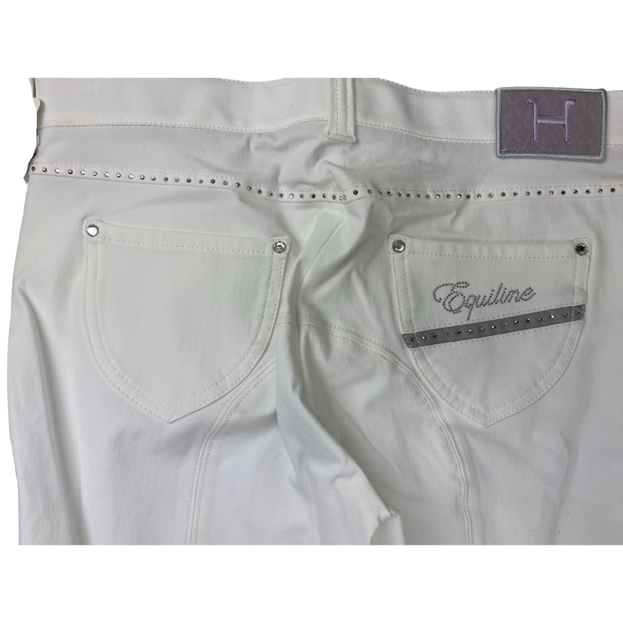 Close up of Equiline Helen Breeches in White/Grey Trim
