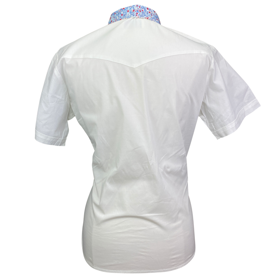 Back of Devon-Aire Short Sleeve Show Shirt in White/Blue Multi Collar - Women's Small
