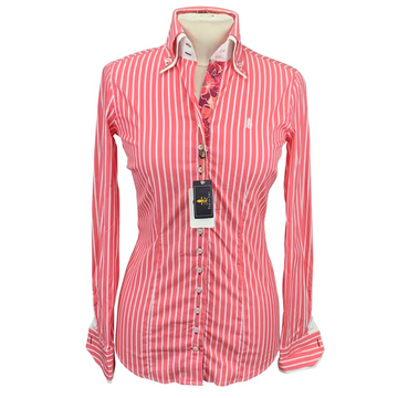 Fior Da Liso Andrea Shirt in Coral Striped