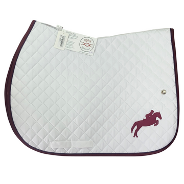 Horse d'oeuvres Ogilvy Equestrian Jump Profile Pad in White/Burgundy and Purple Piping