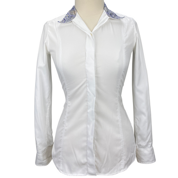 Essex Classics Coolmax Performance Collection Show Shirt in White/Multi Collar - Women's Small