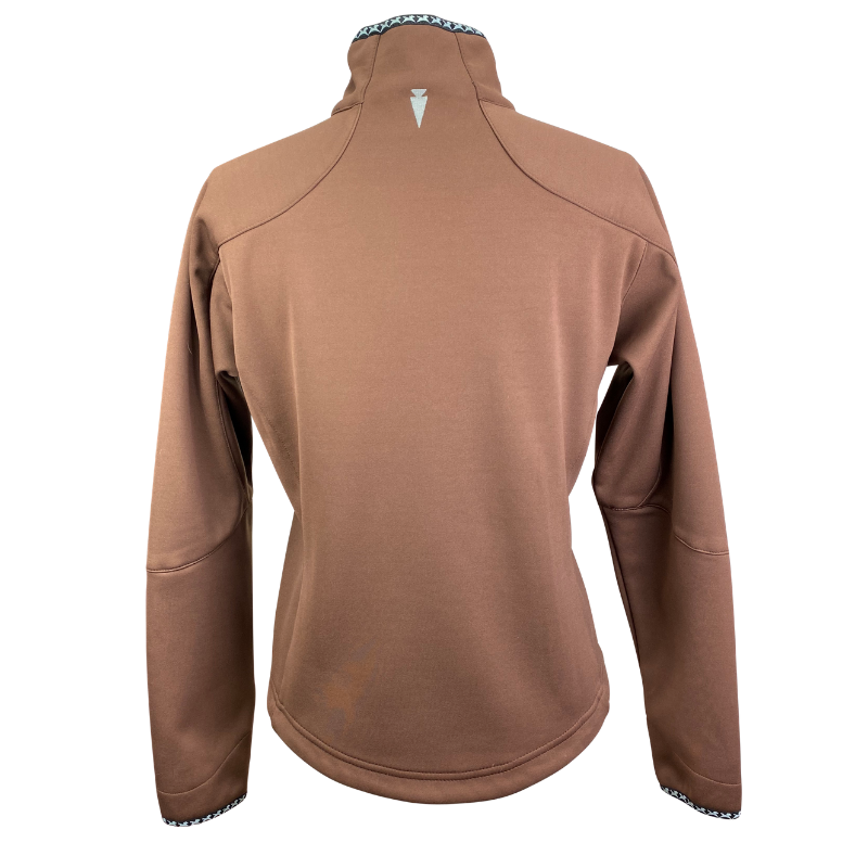 Back of Kerrit's Softshell Riding Jacket in Brown - Women's Medium