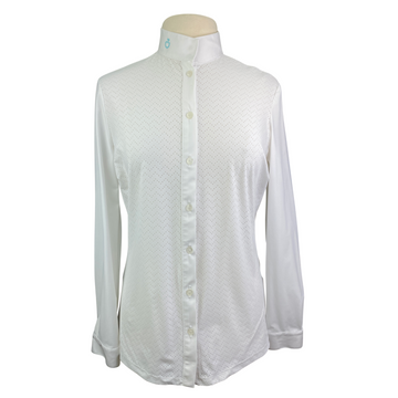 Cavalleria Toscana Perforated Wave Jersey Competition Shirt in White - Women's XL