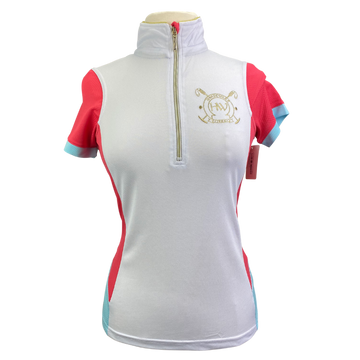Horseware Newmarket Emmy Technical Polo in White/Coral/Teal