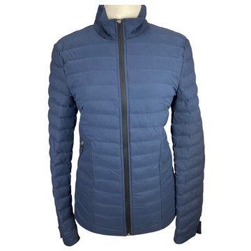 Front of Cavalleria Toscana Modern Quilted Puffer in Denim Blue