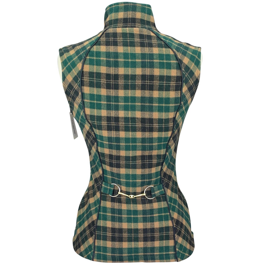 Back of Arista Plaid Vest in Green Plaid