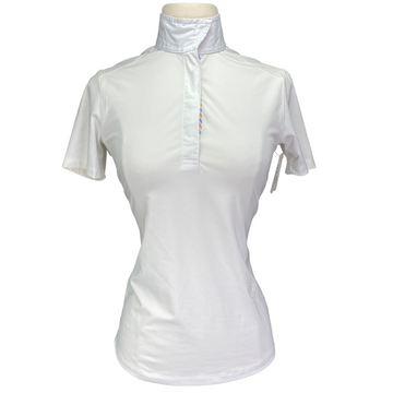 Essex Classics Coolmax Performance Collection Show Shirt in White/Multi Striped Collar - Women's Small