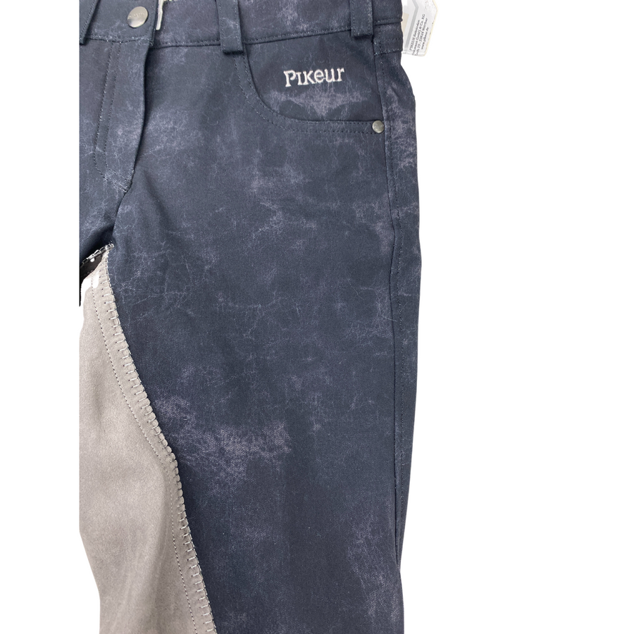 Close up of Pikeur Badira Full Seat Breeches in Black Marble Print