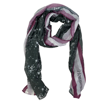 Rolled up scarf of Horseware Scarf in Grey/Purple Design