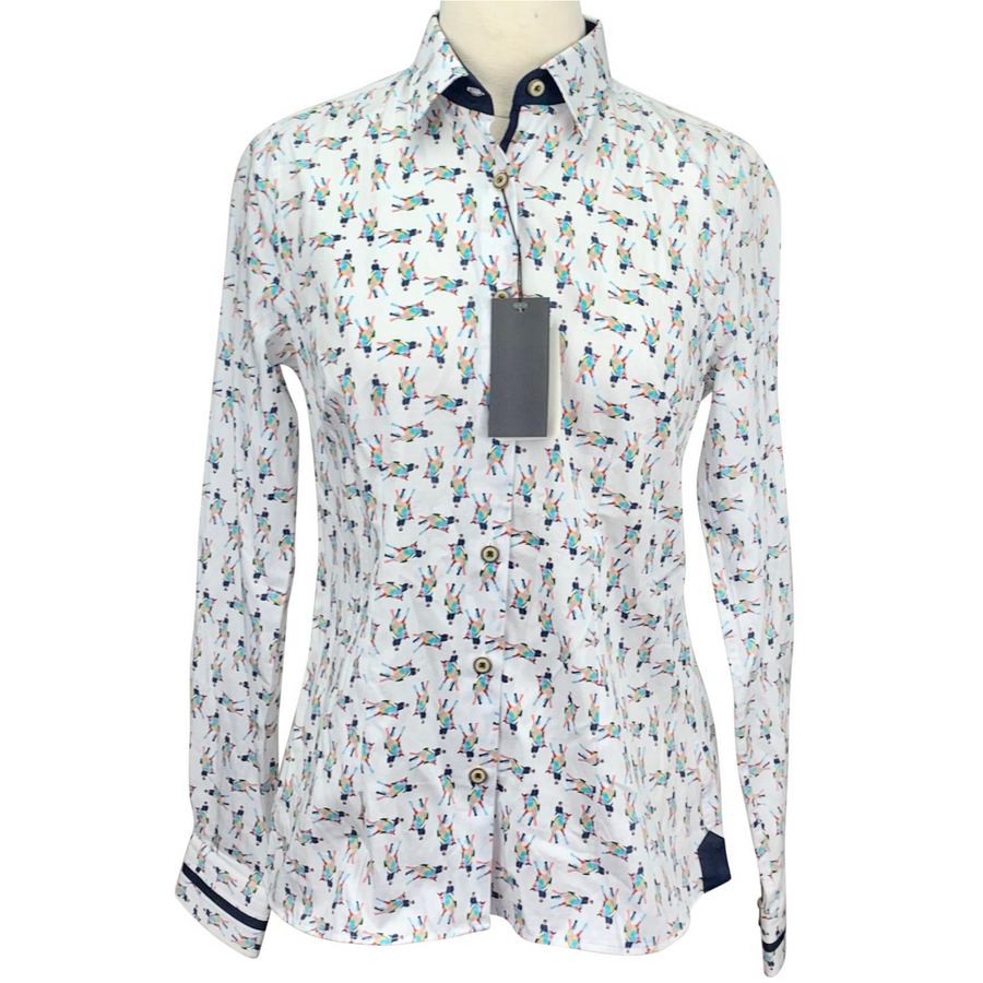 Flying Changes Shirt in White/Multi Horse Design