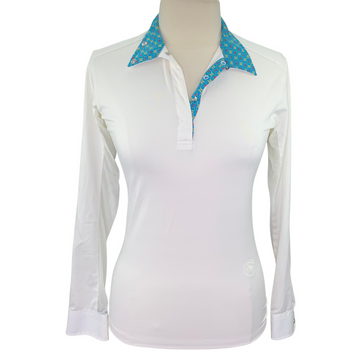 Essex Classics Show Shirt in White/Multi Stirrup Collar